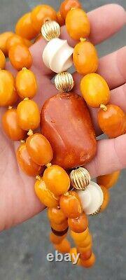 Vintage Antique butterscotch egg yolk Baltic Amber bead necklace 115 grams
