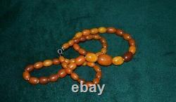 Vintage Antique old natural Baltic Amber necklace butterscotch 39,4 gr, 68 cm