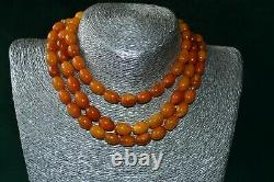 Vintage Antique old natural Baltic Amber necklace butterscotch 69 gr, 126 cm