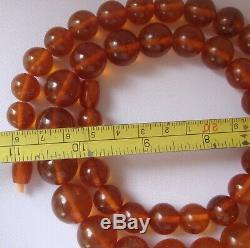 Vintage Baltic Amber Necklace Natural Honey Cognac Amber 77 grams Round Beads