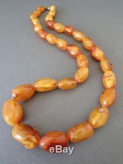 Vintage Baltic Butterscotch Egg Yolk Amber Bead Necklace