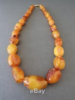 Vintage Baltic Butterscotch Egg Yolk Amber Large Bead Necklace