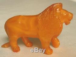 Vintage Butterscotch Egg Yolk Baltic Amber Artist Carving -walking Lion 21.5 Gr