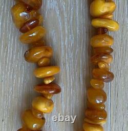 Vintage Butterscotch Egg Yolk Baltic Amber Natural Genuine Necklace 221 g