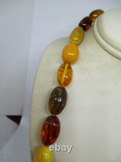 Vintage Egg Yolk Butterscotch Baltic Honey Amber Beaded Necklace 48.8 Grams