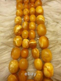 Vintage Egg Yolk Butterscotch Genuine Amber Bead Necklace 97.55 grmes