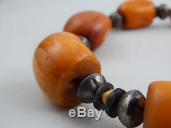 Vintage Estate Natural Butterscotch Egg Yolk Baltic Amber Bead Necklace 19