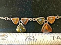Vintage Estate Sterling Silver Genuine Baltic Amber Necklace Cognac & Green