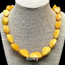 Vintage Faceted Knotted Egg Yolk White Amber Stone Necklace Natural Baltic Amber