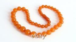 Vintage Genuine Baltic Amber Bead Honey Necklace Butterscotch Egg Yolk 26 gr