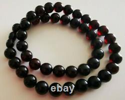 Vintage Genuine Baltic Amber Bernstein Cherry Color Round 10 mm Beads Necklace