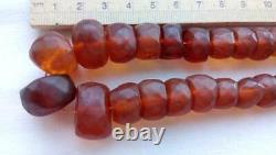 Vintage Genuine Baltic Amber Faceted Bead Necklace Butterscotch Egg Yolk 59.6 gr