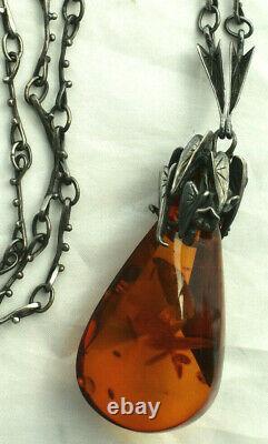 Vintage Genuine Baltic Amber Sterling Silver Extra Large Pendant Necklace Floral