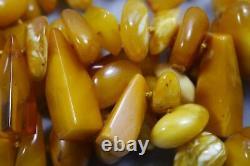 Vintage Genuine Egg Yolk Butterscotch Baltic Amber Bead Necklace 64 Grams