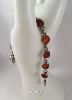 Vintage Jewelry Sterling Silver Baltic Amber Bracelet Antique Deco Jewellery