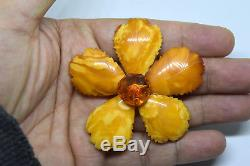 Vintage Large Natural Baltic Butterscotch Amber Flower Pin/Brooch