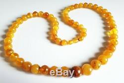 Vintage Luxury Natural BALTIC AMBER Huge Round Beads Necklace Butterscotch 53g