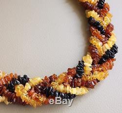 Vintage Multicolor Elegant Gorgeous Antique Natural Baltic Amber Necklace 76 gr