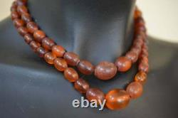 Vintage Natural Amber Baltic Stone Oval Beads Necklace Old Cognac Color