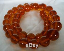 Vintage Natural Authentic Baltic Amber Butterscotch Honey Bead Necklace 44 gr