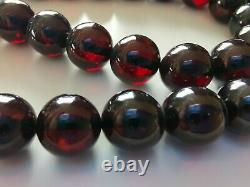 Vintage Natural BALTIC AMBER CHERRY Round 10 mm Beads Necklace