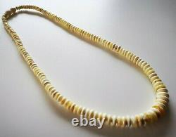 Vintage Natural Baltic Amber Bernstein White Color Button Beads Necklace