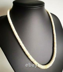 Vintage Natural Baltic Amber Bernstein White Royal Color Button Beads Necklace