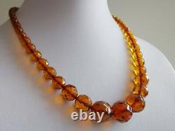 Vintage Natural Baltic Amber Cognac Faceted Round Graduation Beads Necklace
