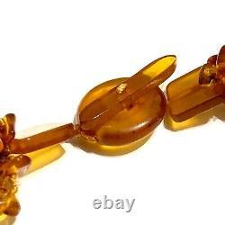 Vintage Natural Baltic Amber Egg Yolk Pendant Butterscotch Beads Big Necklace