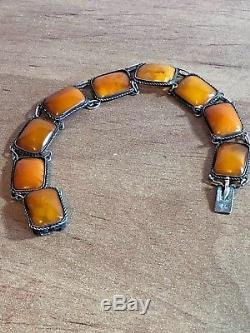 Vintage Natural Baltic Amber Silver Bracelet