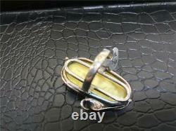 Vintage Natural Baltic Butterscotch Amber 925 Sterling Silver Ring Size 9.25