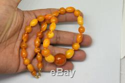 Vintage Natural Baltic Butterscotch Amber Necklace with 14K Solid Gold Clasp