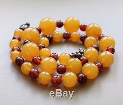 Vintage Natural Baltic Pressed Amber Round Beads Necklace Kaliningrad 35.0 Gr