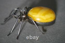 Vintage Natural Egg Yolk Baltic Amber German Silver Large Spider Pin Brooch