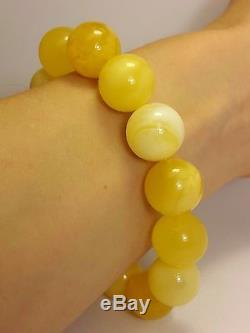 Vintage Natural Egg Yolk Marble Yellow Baltic Sea Amber Bead Bracelet 23.90 g