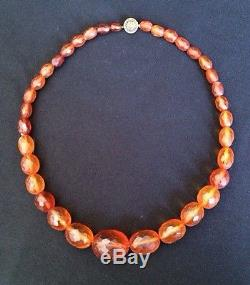 Vintage Natural Genuine Faceted Baltic Cognac Honey Amber Bead Necklace