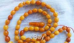Vintage Natural Genuine German Baltic Butterscotch Amber- Islamic prayer beads