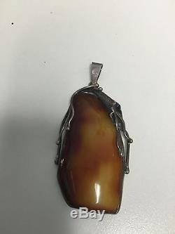 Vintage Natural Polished Baltic Butterscotch Amber Pendantbig 47 Grams
