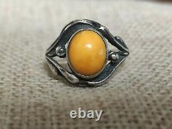 Vintage Natural egg yolk Baltic amber ring 925 Sterling silver size p 7.5