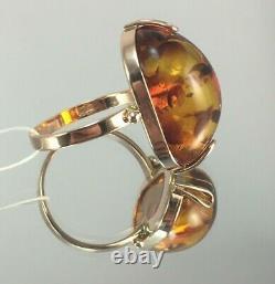 Vintage Original Soviet Rose Gold Ring with Natural Baltic Amber 583 14K USSR