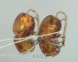 Vintage Original Soviet Russian Natural Amber Rose Gold Earrings 583 14K USSR