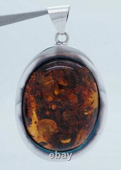 Vintage Sterling Silver 925 Large Oval Cut Natural Baltic Amber Dangle Pendant
