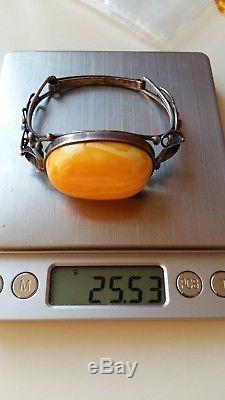 Vintage amber bracelet, silver 925, Baltic natural amber 25,5 grams