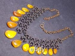 Vintage natural amber stone necklace toffee egg yolk Baltic amber 44g