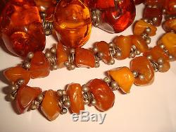 Vtg. 33 Sterling Silver Graduated Natural Baltic Amber Necklace 14k Gold Clasp