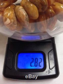 Vtg Antique Natural Butterscotch Egg Yolk Baltic Chunky Amber Necklace 79.9g 14k