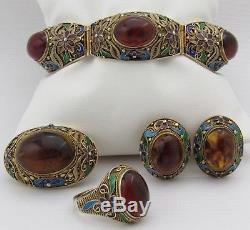 Vtg Chinese Enamel Silver Natural Baltic Amber Bracelet Earrings Brooch Ring Set