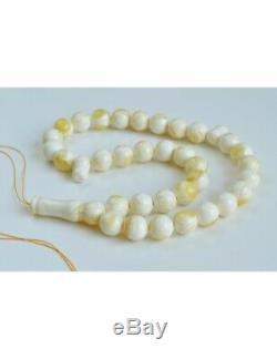 White Amber Round Beads, Creamy Yellow Baltic Amber Islamic Prayer Beads 33 Worr