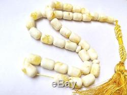 White Baltic Amber Tasbih, 100% Natural Baltic Amber, Made From One Stone. Rf21