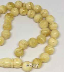 White Baltic Amber prayer beads tesbih misbaha kehribar Islamic muslim rosary